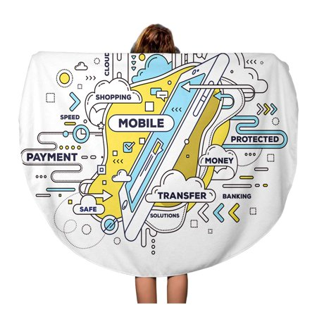 LADDKA 60 inch Round Beach Towel Blanket Creative of Mobile Transfer Phone and Tag Cloud Travel Circle Circular Towels Mat Tapestry Beach Throw