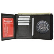 Mens Leather Wallet for ID Badge Holder Police Officer Sheriff Fire Security