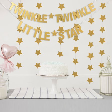 Outgeek Letter Banner Paper Twinkle Twinkle Little Star Party Banner Glitter Banner with 3 Star Banners Party Supplies for Baby Shower Birthday Wedding Party - Star Wars Birthday Banner