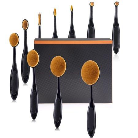 Makeup Brushes Set of 10Pcs Foundation Contour Powder Blush Conceler Eyeliner Shadows Blending Cosmetic Brush Tool(Black) (Red And Black Make Up Brush Set)