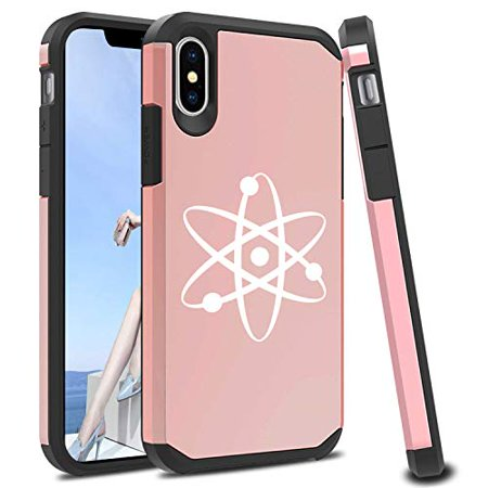 Shockproof SI Impact Hard Soft Case Cover Protector for Apple iPhone Atom Science Atheist (Rose-Gold, for Apple iPhone Xs Max)