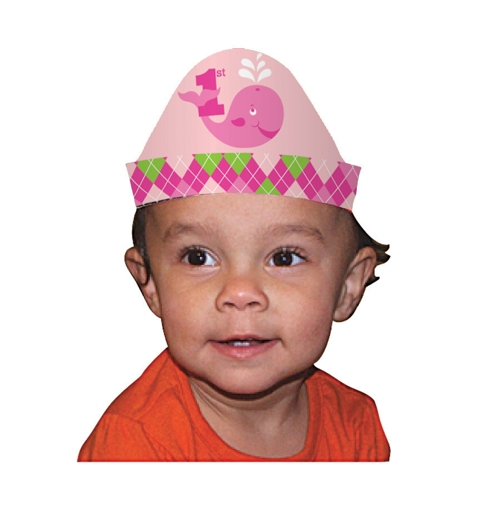 Ocean Preppy Girl 1st Birthday Party Headbands (8 ct)