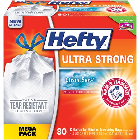 - Hefty Ultra Strong 13 Gallon Tall Kitchen Drawstring Bags Clean Burst - 80 CT