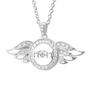 Diamond Delight Sterling Silver Heart Love Angel Wing Mot...