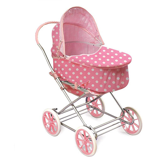 Just Like Mommy 3-in-1 Doll Pram, Pink with White Polka Dots - Fits American Girl Dolls & My Life As