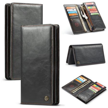 Allytech 6.5 Inch Univesal Long Wallet Clutch Zipper Organizer Folio Cards Cell Phone Holder Phone Bag Purse Wallet Case for Women Girls, iPhone XS Max, Galaxy Note 9 S8 S9 K8 K10, LG V40, Black
