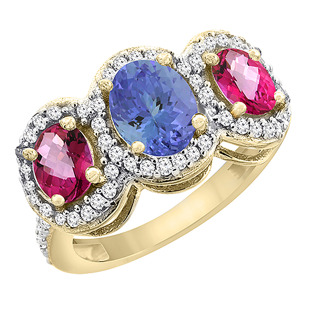 10K Yellow Gold Natural Tanzanite & Pink Topaz 3-Stone Ring Oval Diamond Accent, size 6 by Gabriella Gold