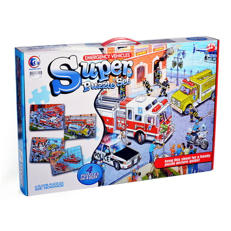 Interesting 4-in-1 City Puzzle Funny Gift for Children Kids Construction Vehicles - image 5 de 6