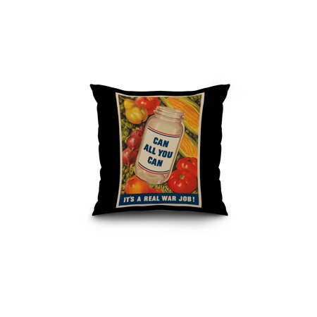 Can All You Can Vintage Poster USA c 1943 16x16 Spun Polyester Pillow
