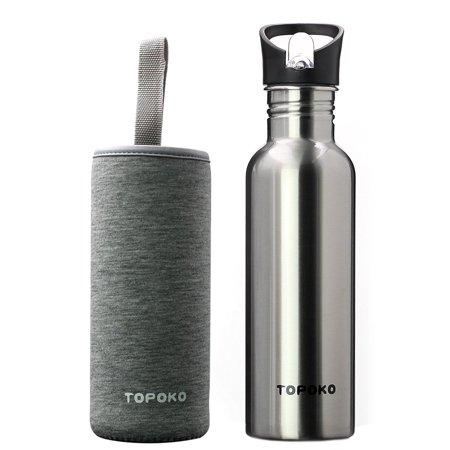 TOPOKO 25 Oz Single-Layer Stainless Steel Water Bottle Sports Bottle Flip Top Spout With Black and Grey Nylon (Famous Single Bottle)