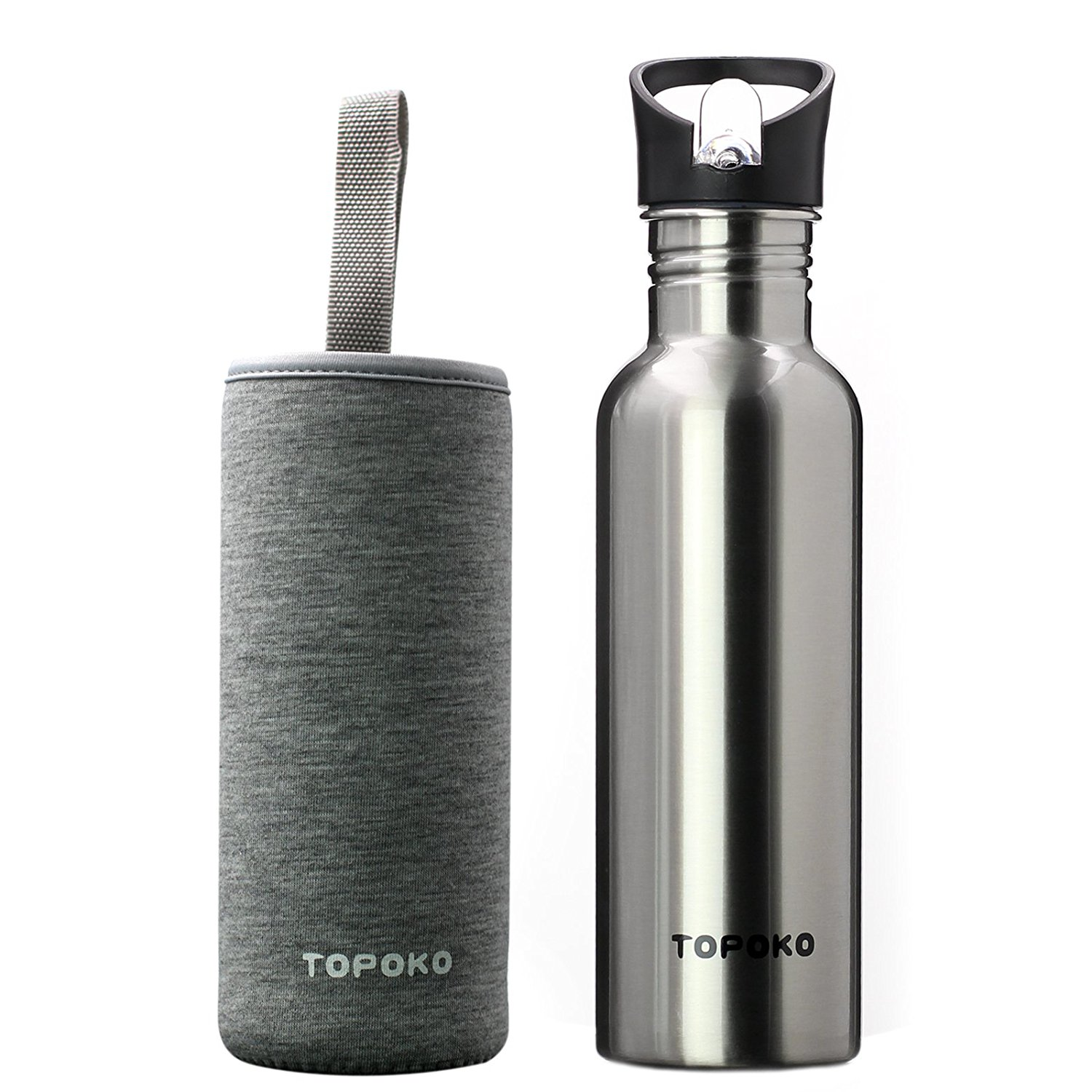 TOPOKO 25 Oz Single-Layer Stainless Steel Water Bottle Sports Bottle Flip Top Spout With Black and Grey Nylon Sleeve