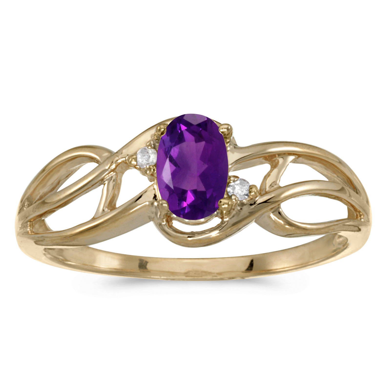 14k Yellow Gold Oval Amethyst And Diamond Curve Ring by Diamond Rings