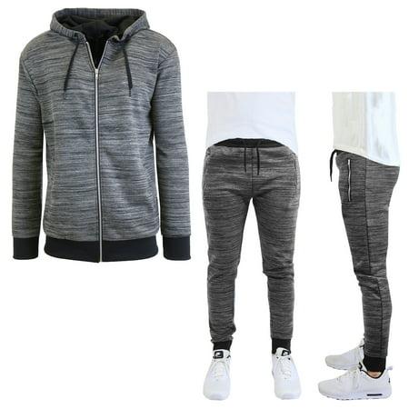 Men's Marled Tech Fleece Stretch Hoodie & Jogger Set (Tech Hoodie Sweatshirt)