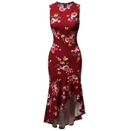 FashionOutfit Women's Sleeveless Flare with Ruffle Hemline Body-Con High Low Dress - Dress With Ruffles