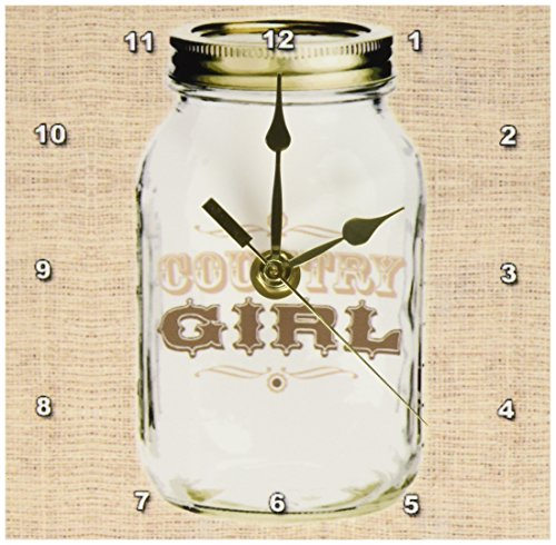 3dRose Mason Jar on Burlap Country Girl in Brown, Desk Clock, 6 by 6-inch by 3dRose