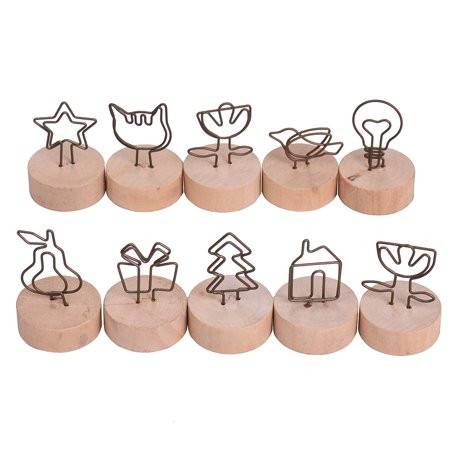 Real Wooden Base Place Card Holders Paper Note Clip Table Craft Decoration Ideal for Party Wedding Home Bar Multi-style Large Thread Shape Set of 10 - image 1 of 7