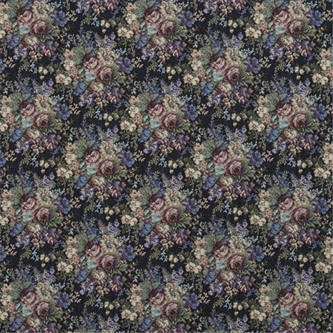 Designer Fabrics F927 54 in. Wide Blue, Green And Burgundy, Floral Tapestry Upholstery Fabric