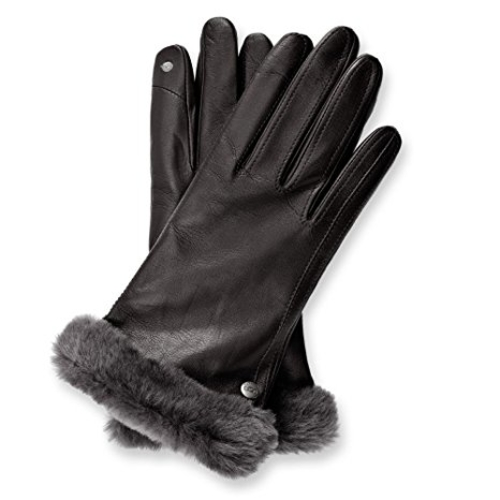 Ugg Carry Forward Classic Leather Smart Gloves, Black