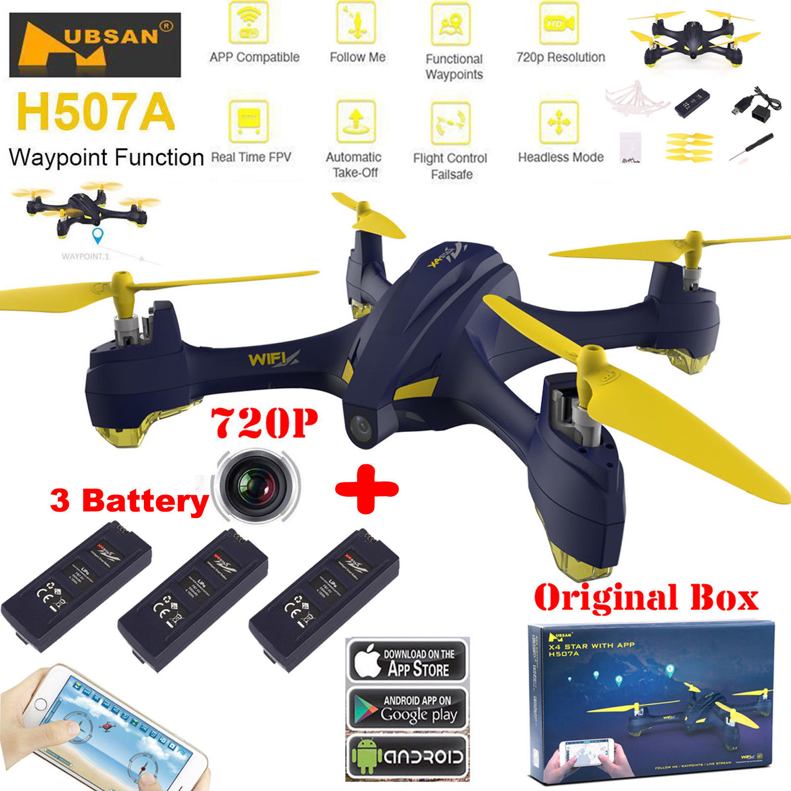 Hubsan H507A X4 Star Pro WiFi FPV 2.4Ghz 6 Axis Gyro RC Quadcopter Drone With 720P HD Camera Follow Me GPS Altitude Hold + 3 Batteries