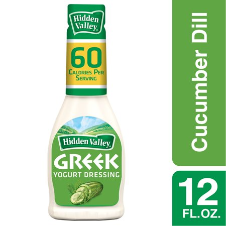 (2 Pack) Hidden Valley Greek Yogurt Cucumber Dill Salad Dressing & Topping, Gluten Free - 12 Oz -