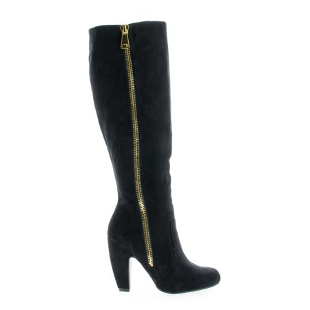 Mozza24 by Bamboo, Classic Knee High Zip Up Chunky Heel (Bamboo Zip)