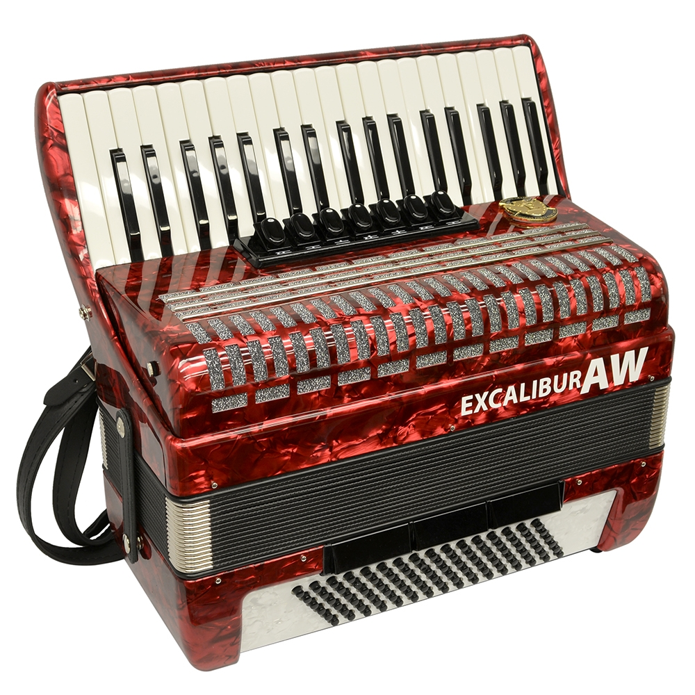 Excalibur Akordeon Werks (AW) 96 Bass Piano Accordion Pearl Red by