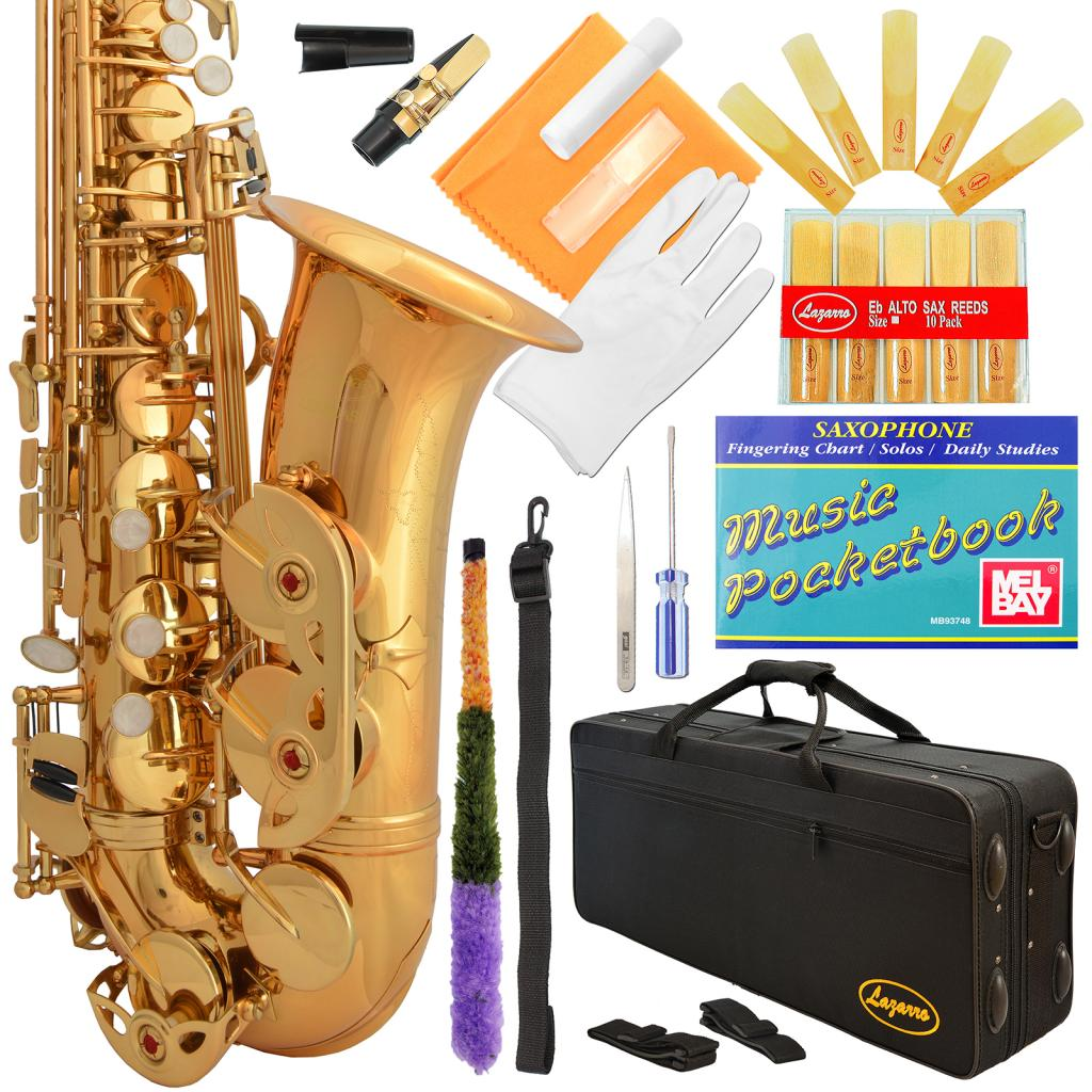 Lazarro® Professional Royal Blue-Gold Keys Eb E Flat Alto Saxophone Sax with 11 Reeds, Case & Many Extras - 360-BU