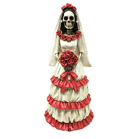 Dia De Muertos Day of The Dead Sugar Skulls Skeleton Wedding Bride Rosa Figurine - Day Of Dead Bride