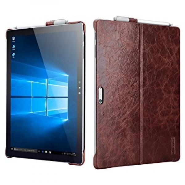 Surface Pro 4 Case,Icarercase Vintage Genuine Leather Bac...
