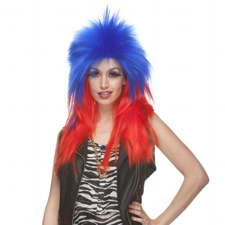 Characters Extra Long Rocker Synthetic Wig Dark Blue And