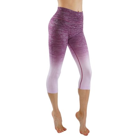 Womens Capris Crop Workout Leggings Ombre Space Dye Design