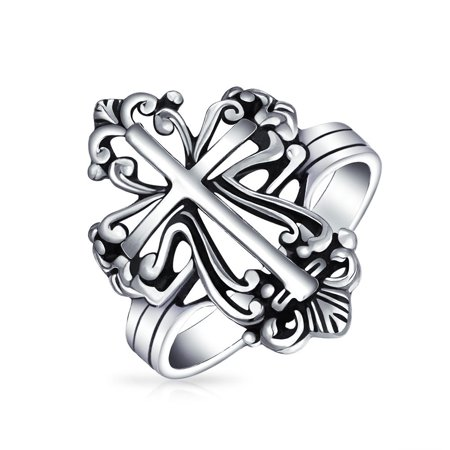 Fleur De Lis Solid Ring - Vintage Style Christian Religious Fleur De Lis Cross Ring For Women For Men Oxidized 925 Sterling Silver