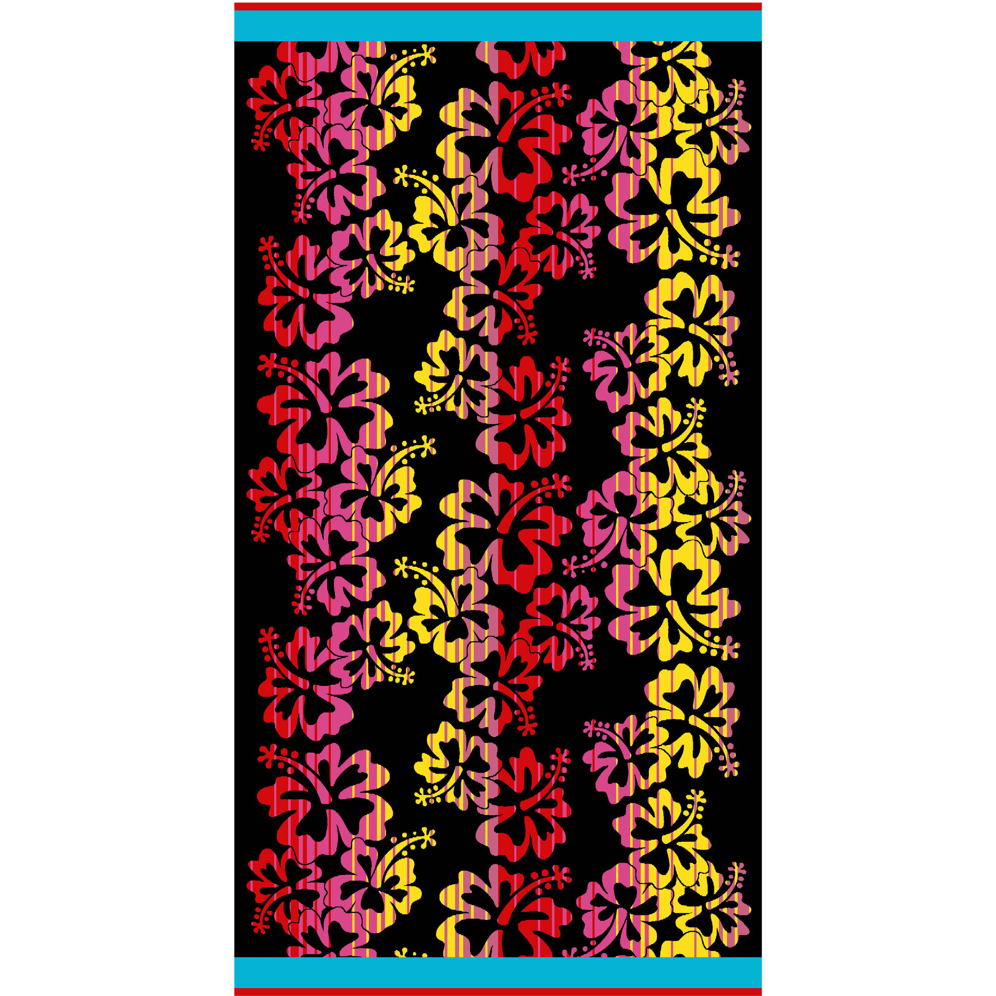 Mainstays Jacquard Hibiscus Oversized Beach Towel, 2 Pack
