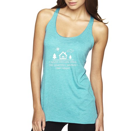 Trendy USA 1285 - Women's Tank-Top I Went Outside Once The Graphics Weren't That Great 8-Bit Gamer XS Tahiti Blue