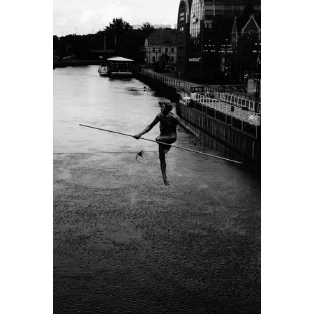 Framed Art For Your Wall Poland Tightrope Walker Bydgoszcz 10x13 - Wall Walkers