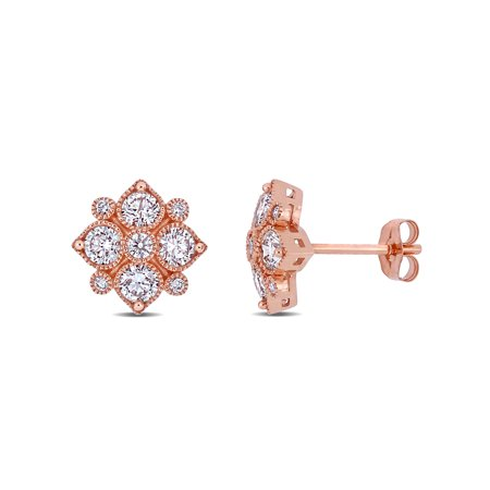 Miabella 1 Carat T.W. Diamond 14kt Rose Gold Floral Stud Earrings