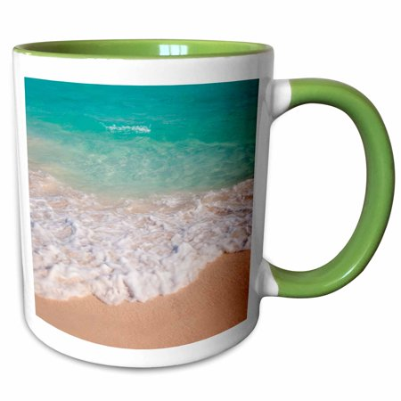 3dRose Blue and green water off Orient Beach in St. Maarten, West Indies - Two Tone Green Mug,
