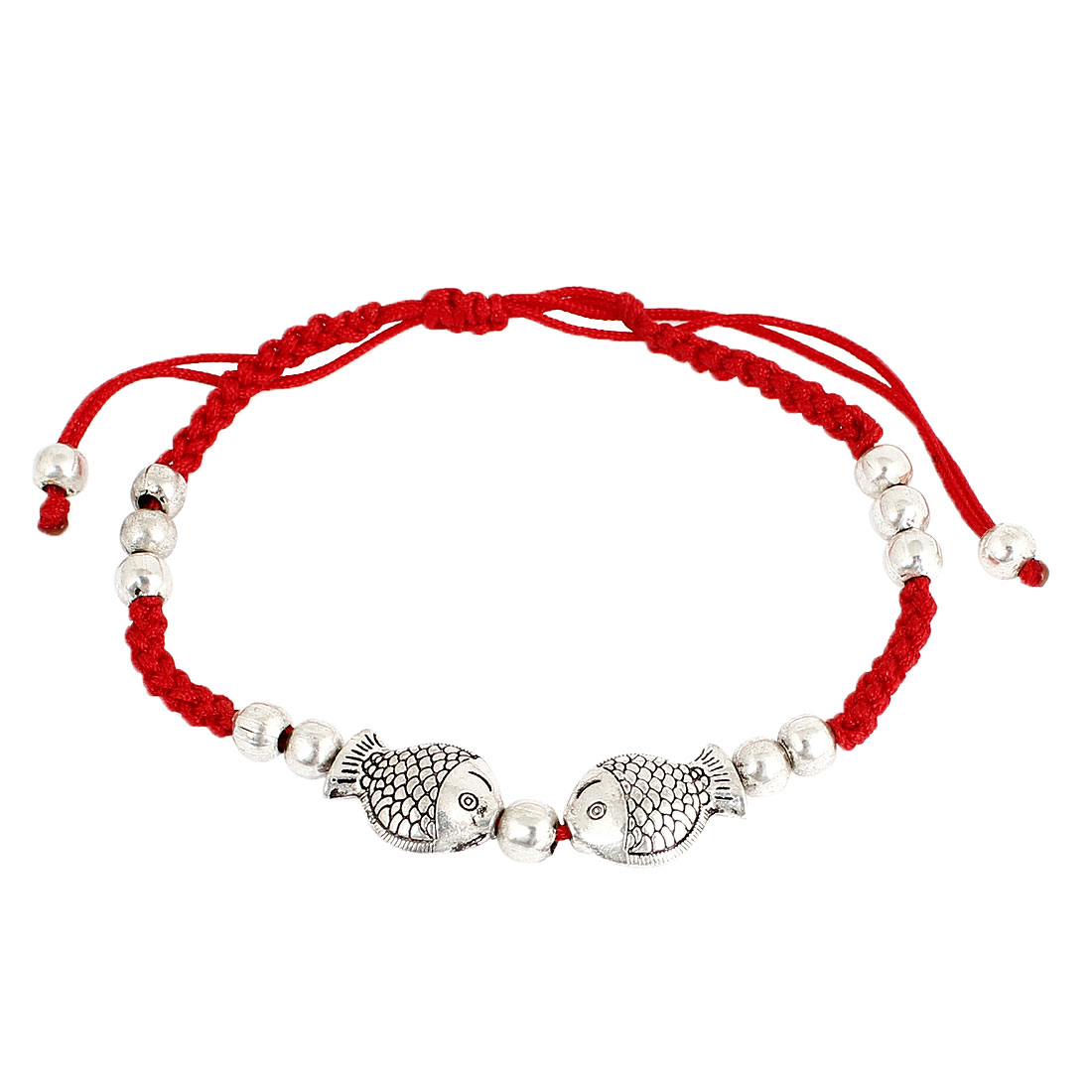 Unique Bargains Drawstring Closure Carved Kissing Fish Accent Red Rope Bracelets for Women Girls