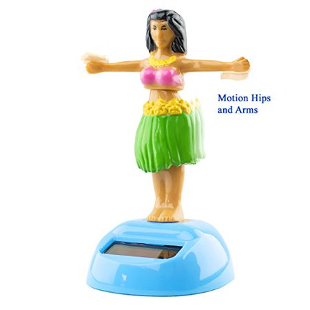 Hawaii Dancing Hula Girl Solar Powered Motion Toy Figurine Light Activated Car Office Home Decor Cute Novelty Gift Suncatcher Green Skirt for $<!---->