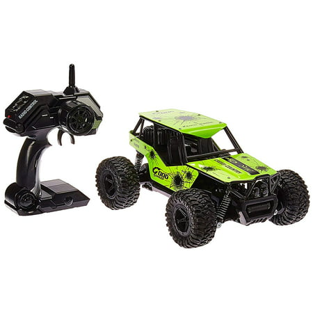 Turbo Remote Control Toy Green Rally Buggy RC Car 2.4 GHz 1:16 Scale Size w/ Working Suspension, Spring Shock Absorbers