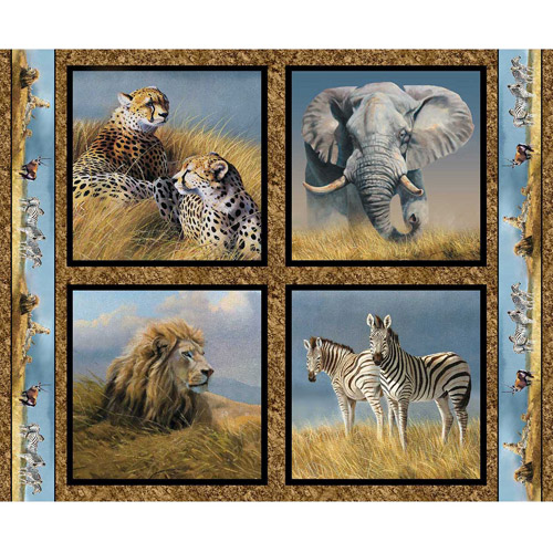 Springs Creative Wild Wings Kenyan Plains Pillow Panel Fabric by the Yard