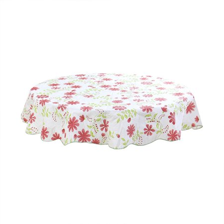 Unique Bargains Home Picnic Round Nine-petal Flower Pattern Tablecloth Table Cloth Cover Red 60