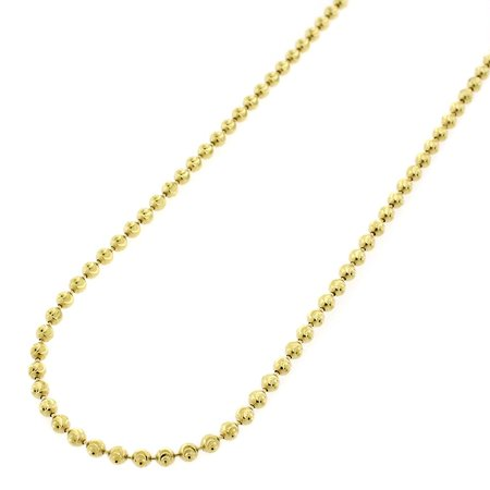 "Sterling Silver Italian 2mm Ball Bead Moon Cut Solid 925 Yellow Gold Plated Necklace Chain 16"" - 30"""