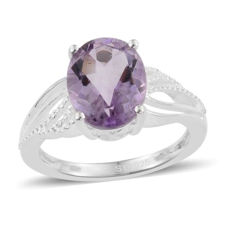 Girls 925 Sterling Silver Oval Pink Amethyst Statement Ring Gift Cttw 2
