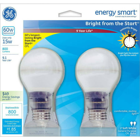 Ge Cfl 15W  60W Equivalent  Bright From The Start Light Bulbs  2 Pack