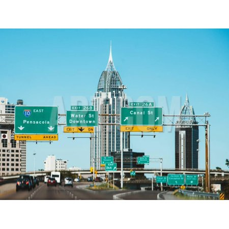 City View of Pensacola, Florida, Skyline from the Highway with Big Road Signs and High Houses Print Wall Art By Sonja - Party City Pensacola Florida