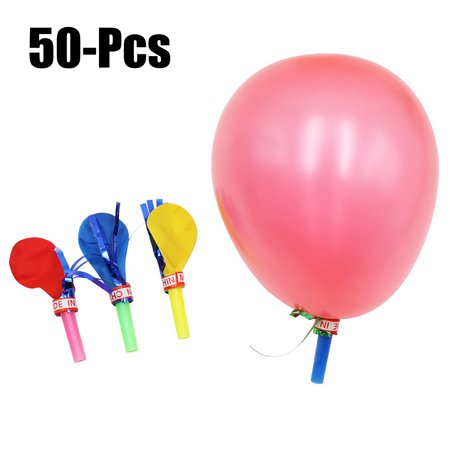 50PCS Whistle Toys,Justdolife Assorted Color Noise Making Toy Balloons Party Noisemaker Kids Play Toys for Birthday Party (Random Color) - Whistling Balloons