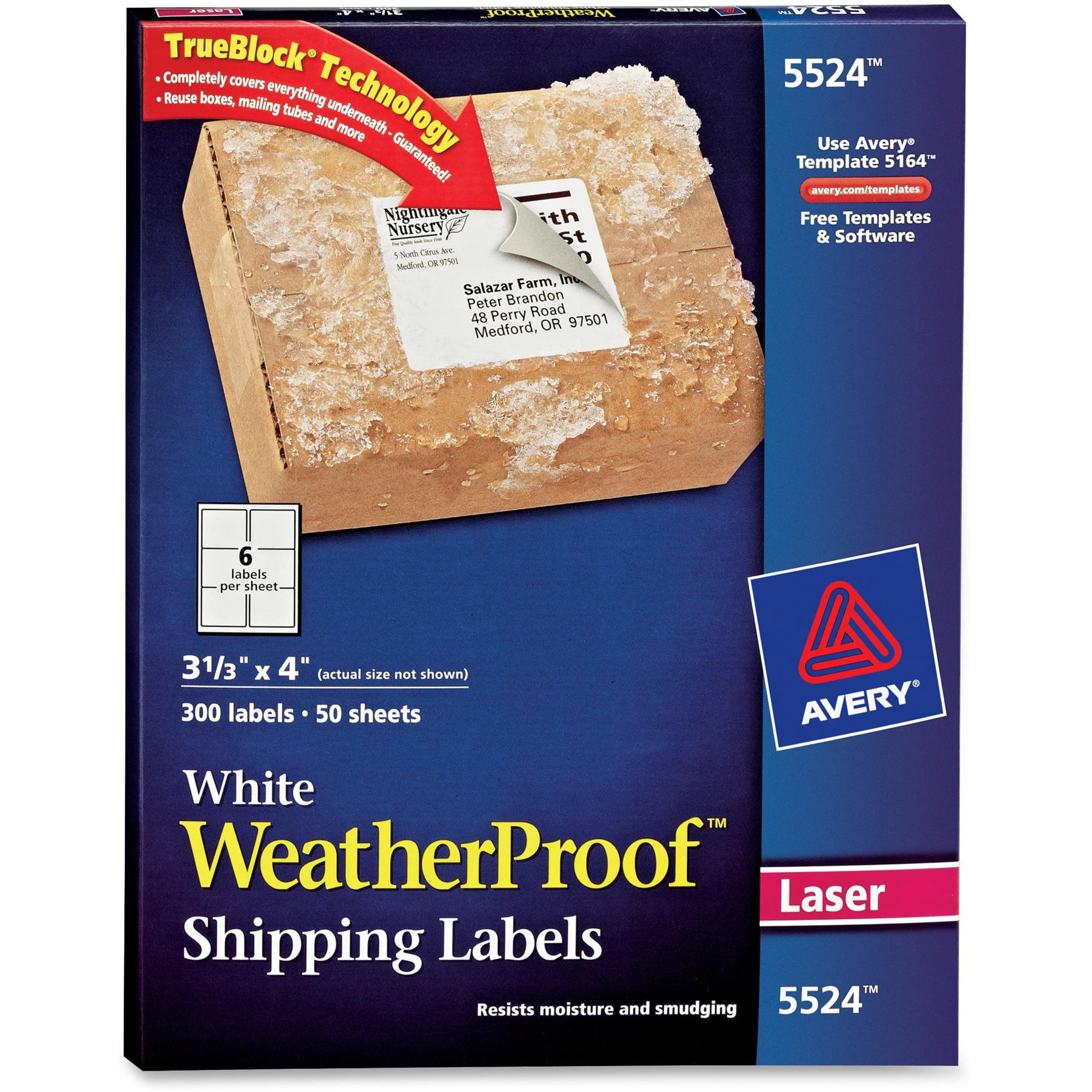 Avery WeatherProof Shipping Labels w/TrueBlock, Laser, White, 3 1/3 x 4, 300/Pack