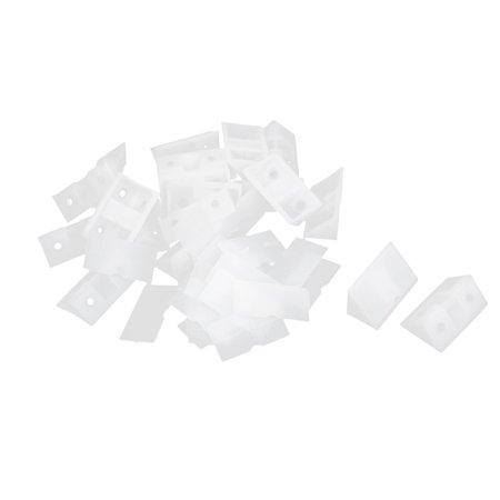 Unique Bargains Shelf Closet Plastic Corner Braces Angle Brackets Furniture Assembly White 20pcs