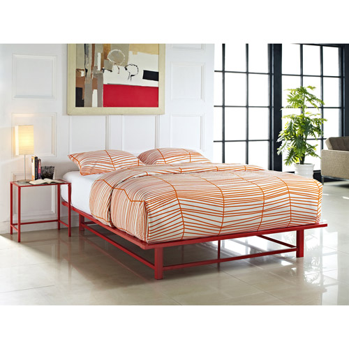Parsons Full Metal Ledge Platform Bed, Red